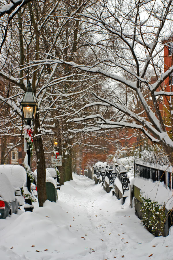 Stock image of a snowing winter at Boston, Massachusetts, USA.  stock photography
