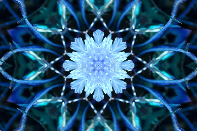 Stock image of Winter Kaleidoscope. Unusual background with winter kaleidoscope that looks like large snowflake , image created from photo of colored dandelion stock images