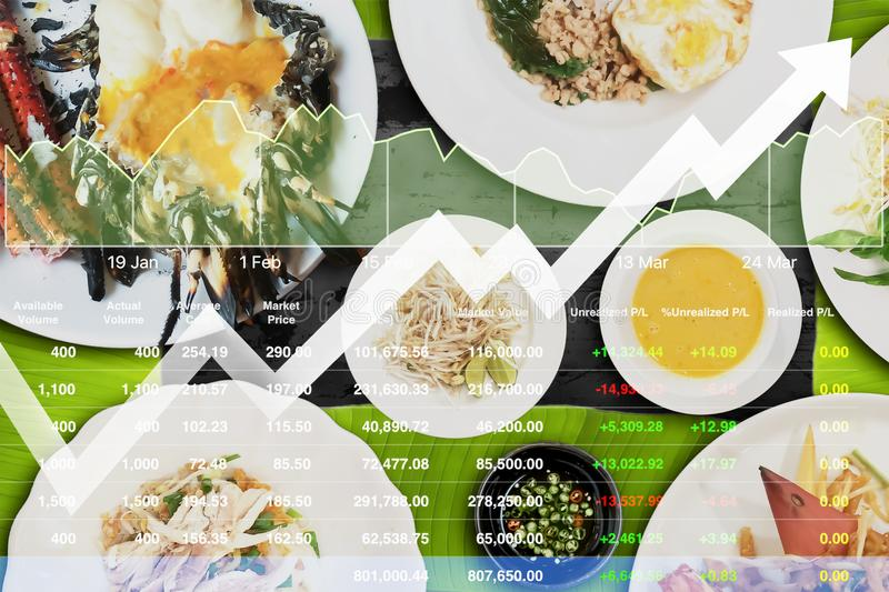 Stock index data analysis of food business with variety of exotic local Thai food background. royalty free stock photos