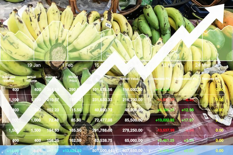 Stock index financial data show growth index of agriculture. Stock index financial data show growth index of agriculture and organic food industrial business royalty free stock photo
