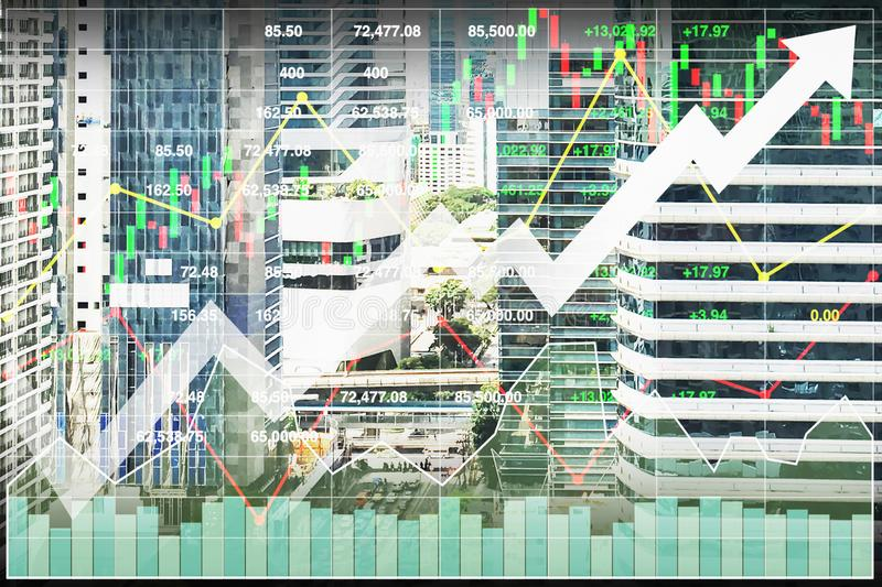 Stock index financial economy investment on real estate business. stock illustration