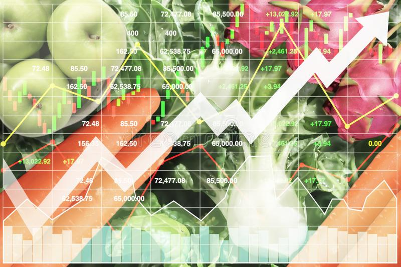 Stock index financial growth of agriculture products. Stock index financial economic growth of agriculture products and healthy food business investment royalty free stock image