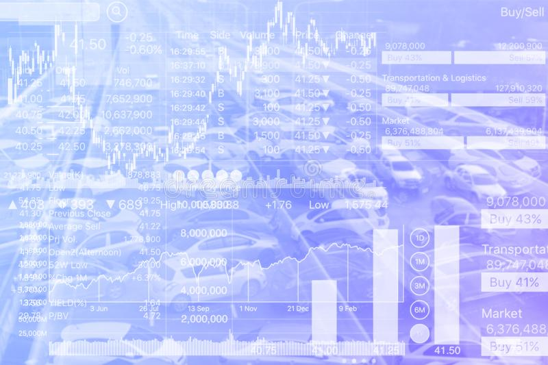 Stock Index graph of transportation investment on Blue Gradient stock photos