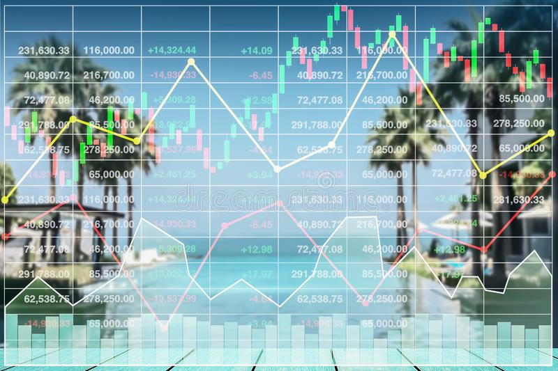 Stock index growth shown by graph and chart in resort. Stock index growth shown by graph and chart in resort hotel travel business background royalty free stock photography