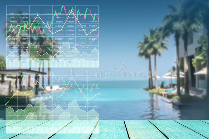 Stock index growth shown by graph and chart. Stock index growth shown by graph and chart in resort hotel travel business background stock image