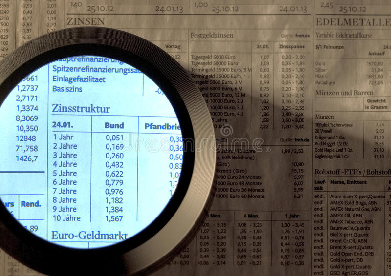 Stock index and magnifier. Stock index paper and magnifying glass stock images