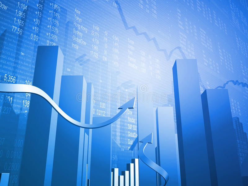 Stock Indicators with 3D Up Arrows. Stock Market Indicators and Global Currencies with 3D Up Arrows royalty free illustration