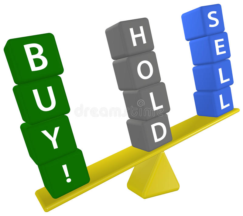 Stock Investing Scale Decision BUY SELL HOLD Stock Image