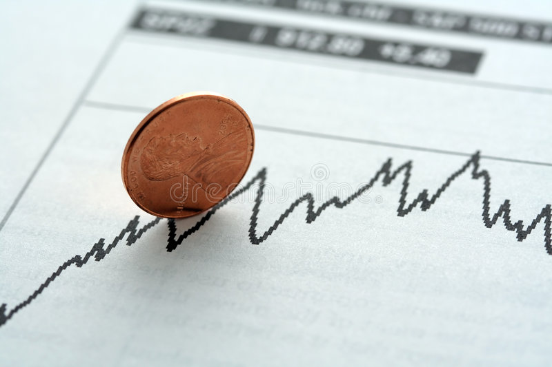 Stock investment. Stock graph with upward trend, symbolized with a penny stock photography