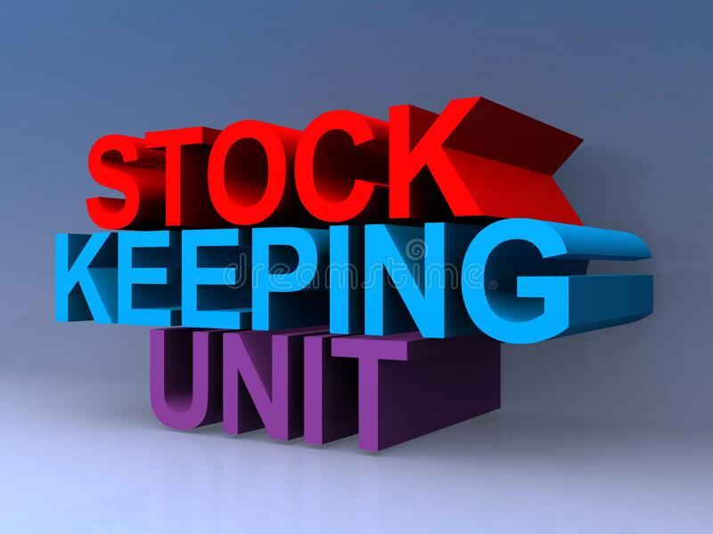 Stock keeping unit. On blue royalty free illustration