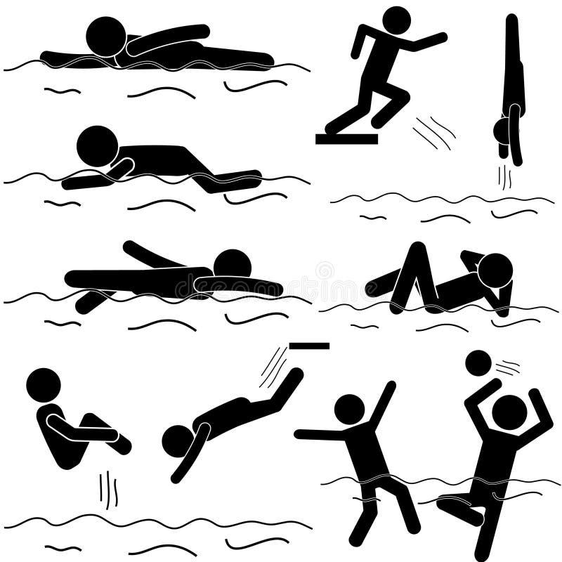 Stock-Mann-Schwimmen-Vektor lizenzfreie abbildung