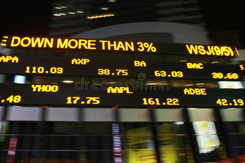 Stock Market. Ticker brightly updating the state of the economy in Times Square stock photo
