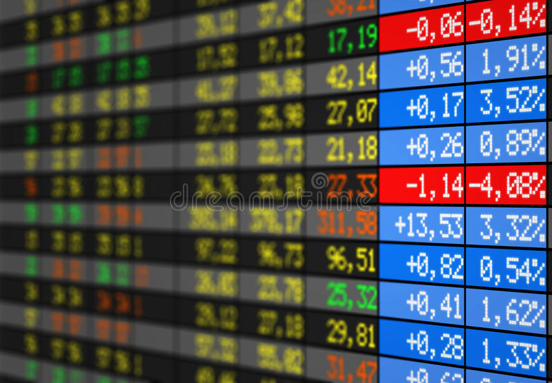 Stock market. Electronic board with numbers in colors