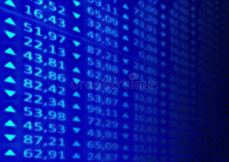 Stock Market. Illustration of a stocks market ticker board royalty free illustration
