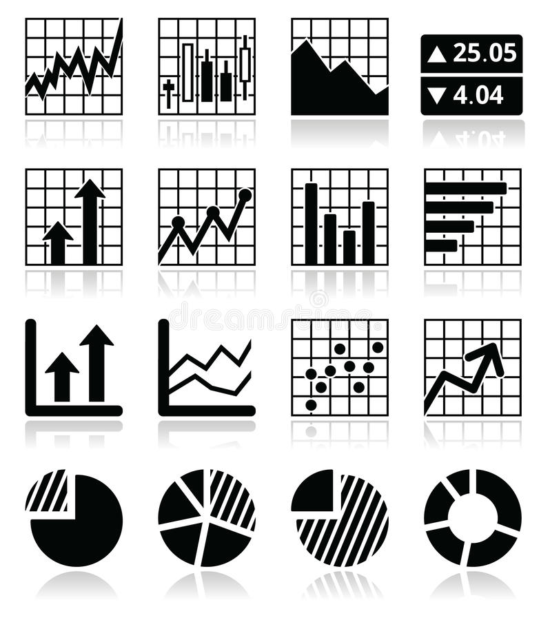 Stock Market Analysis, Chart And Graph Icons Set Stock Vector