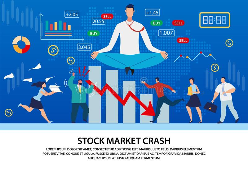 Stock Market Analytics, Forex Crash Text Poster. Cartoon Angry Frustrated People Characters Running around Looking for Solutions. Calm Huge Man Meditating over stock illustration