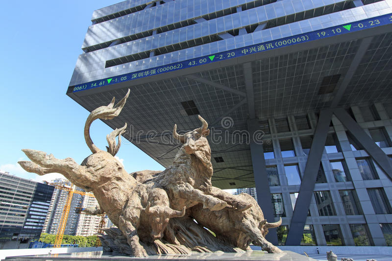 Stock market building in Shenzhen. Shenzhen, China - August 19,2015: Stock market building in Shenzhen, one of the three stock markets in China, with the copper stock photos