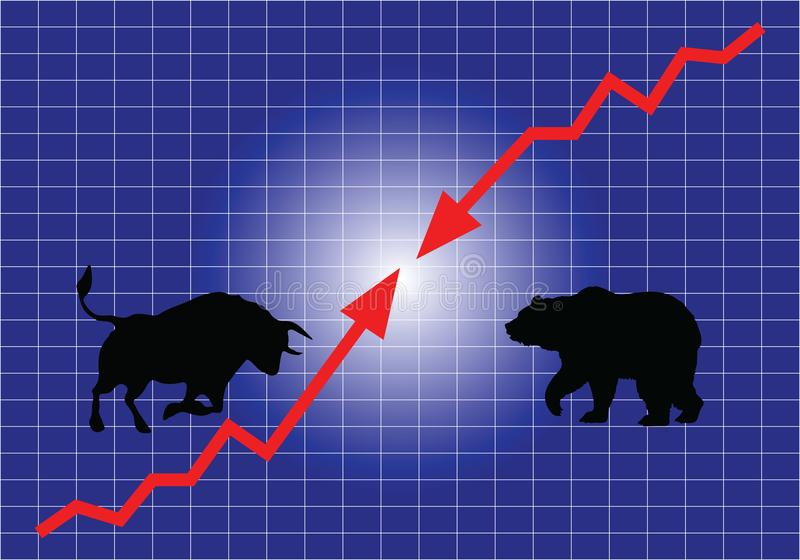 The Stock Market, Bulls And Bears. royalty free stock images