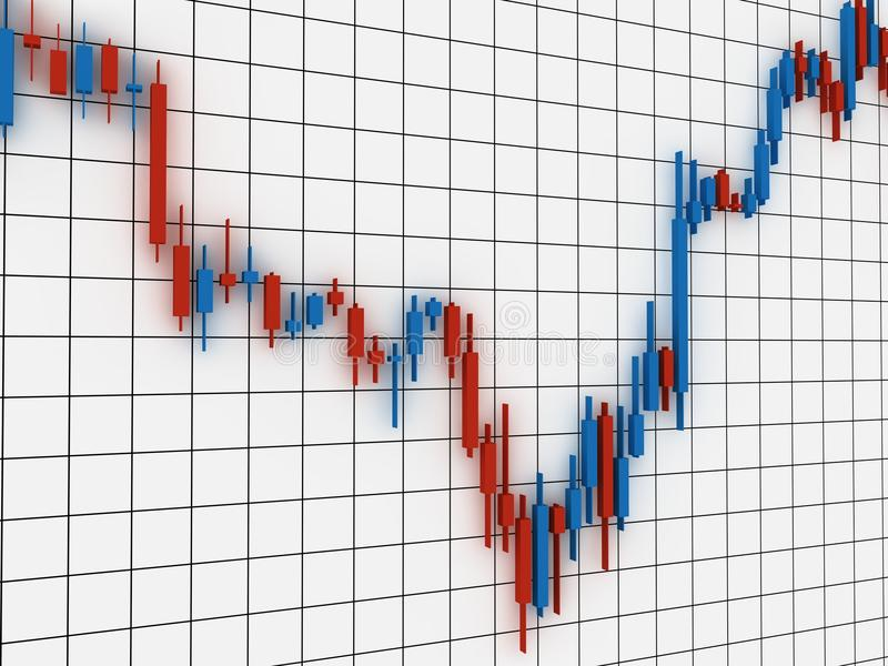 Stock market chart. 3D stock market diagram on white grid background. Computer render