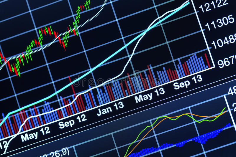 Stock market chart. Close up photograph of stock market chart royalty free stock image