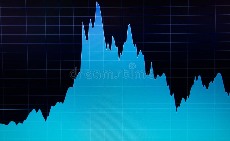 Stock market chart on computer display. Business analysis diagram. Fundamental and technical analysis concept royalty free illustration