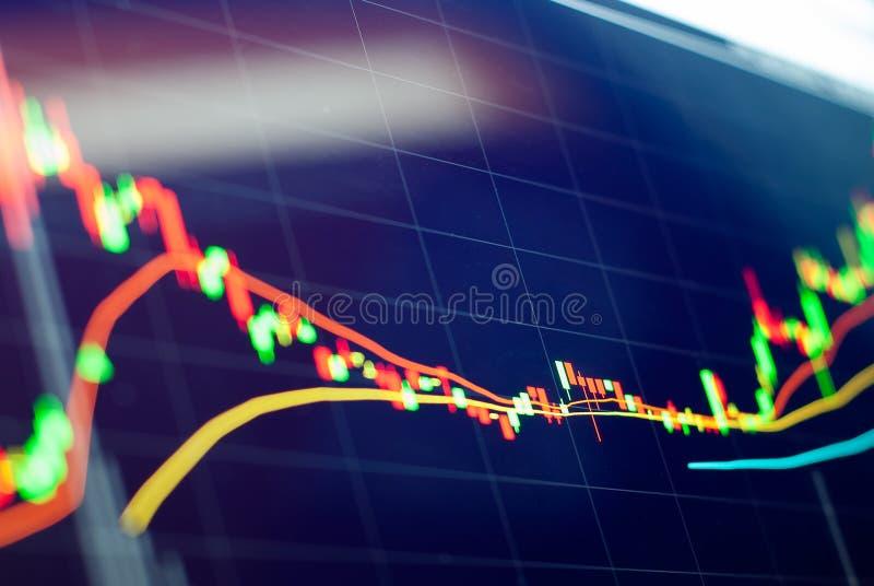 Stock market chart data on LED display concept stock image