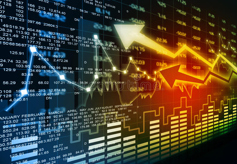 Stock market chart. Financial background concept royalty free illustration
