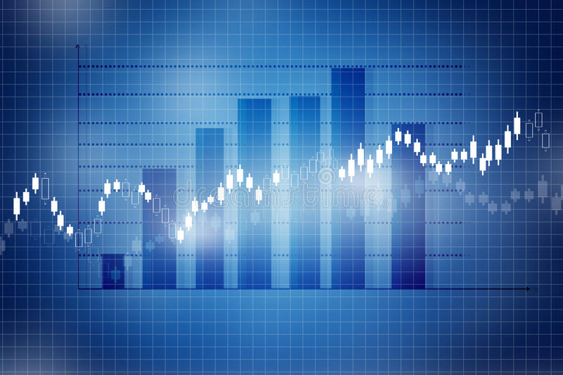 Stock Market Chart. Graph on blue background stock photography