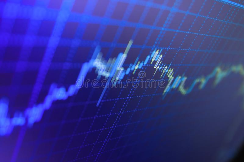 Stock market chart, graph on blue background. Finance stock market investment trading. Graph of Cryptocurrency market stock image