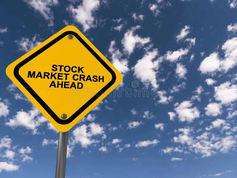 Stock market crash ahead traffic sign. On blue sky stock photo