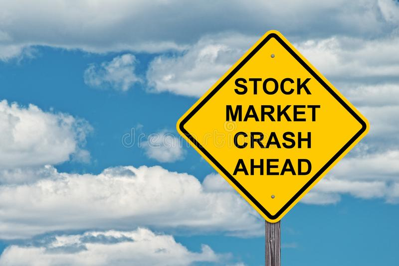Stock Market Crash Ahead Warning Sign. Stock Market Crash Ahead Caution Sign Blue Sky Background royalty free stock images