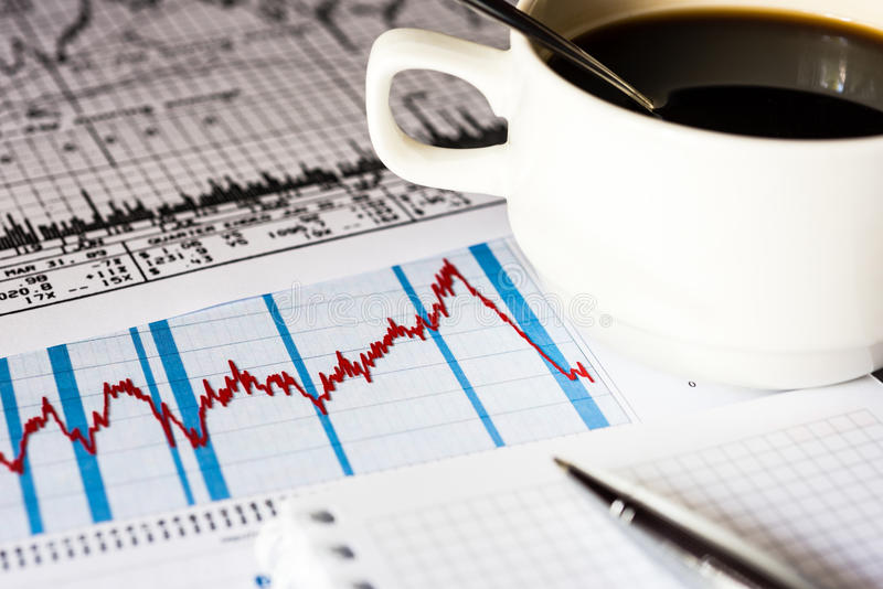 Stock market crash, analysis for cup of the coffee royalty free stock images