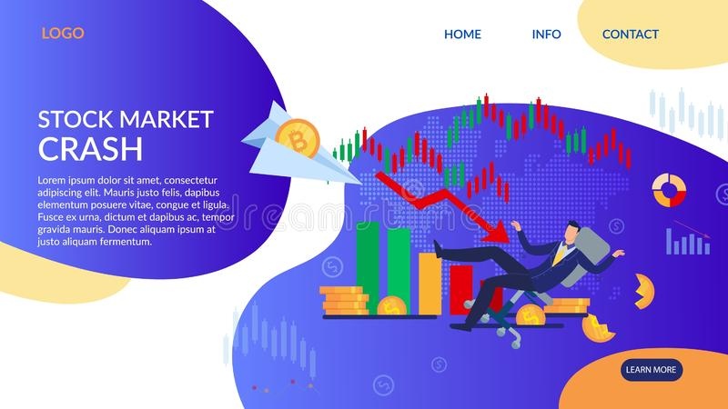 Stock Market Crash and Bankruptcy Landing Page. Stock Market Crash and Bankruptcy. Flat Design Landing Page. Cartoon Trader Businessman in Suit Falling. Failure stock illustration