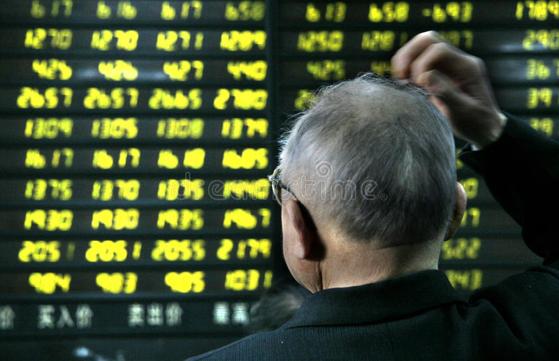 Stock market crash in China stock photo