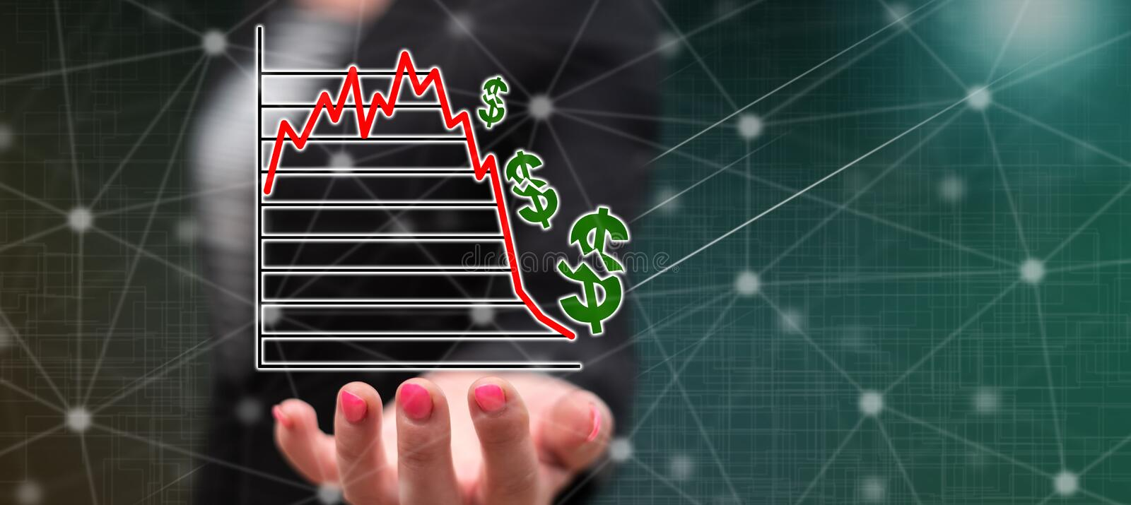 Concept of stock market crash. Stock market crash concept above the hand of a woman in background stock illustration