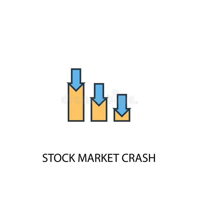 Stock market crash concept 2 colored. Line icon. Simple yellow and blue element illustration. stock stock illustration