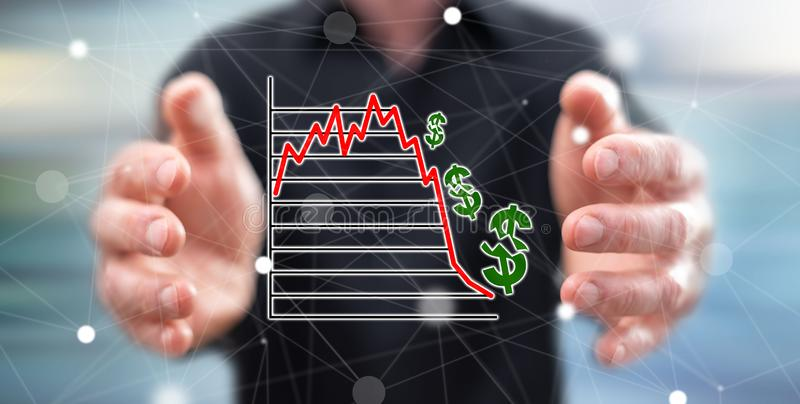 Concept of stock market crash. Stock market crash concept between hands of a man in background vector illustration