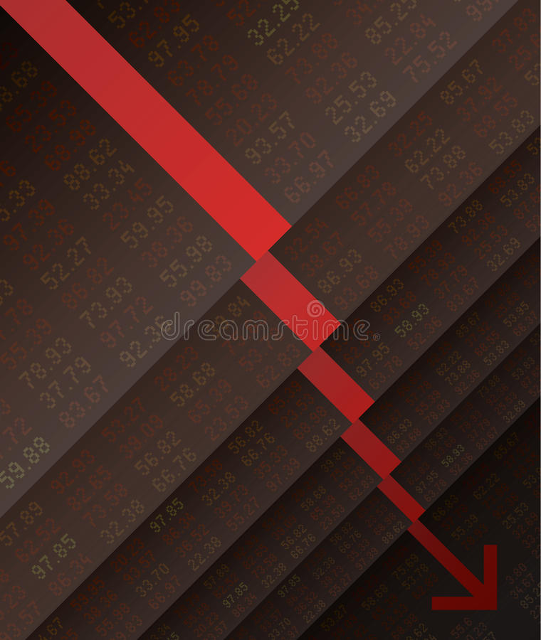 Stock Market crash down. Fall, stair, marketing, business, financial and currency, vector illustration stock illustration