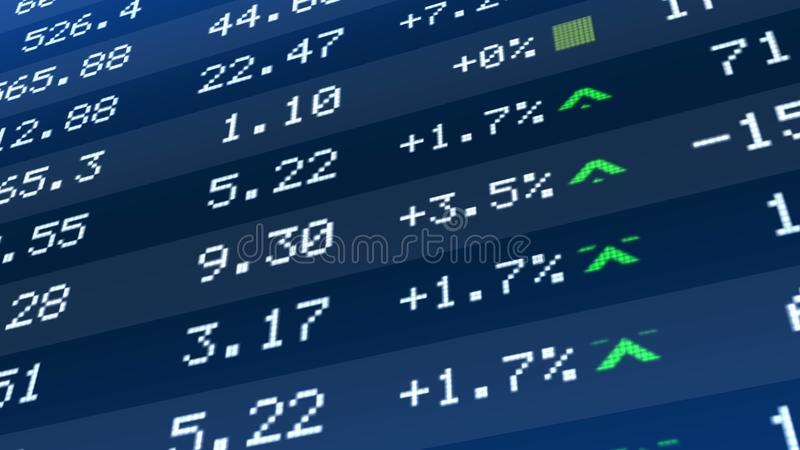 Stock market crash, figures dropping on ticker display, global economic crisis stock photos