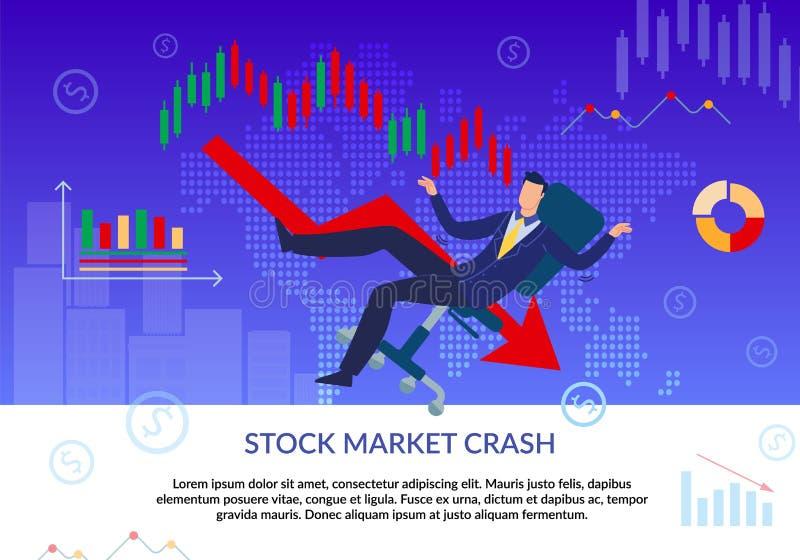 Stock Market Crash, Financial Crisis Flat Poster. Stock Market Crash. Financial Crisis. Business Fail. Bankruptcy. Cartoon Frustrated Businessman Character royalty free illustration