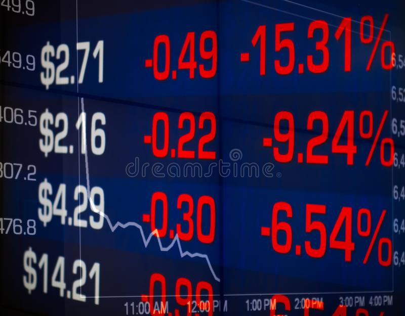 Stock market crash graph and numbers reflection percentage decrease and price. Panic, losing money causing stress. stock photography