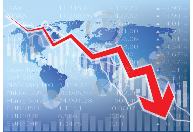 Stock market crash illustration - red arrow down. World map stock illustration
