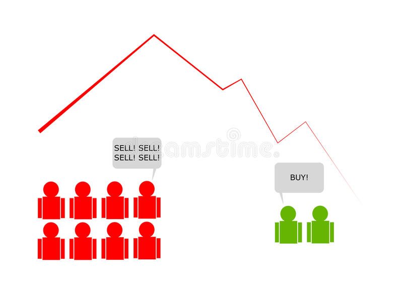 Stock Market Crash with Panic Selling. In English Buy and Sell stock illustration