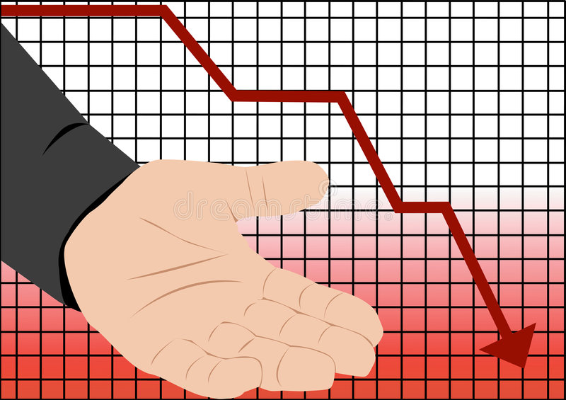 Stock market crash recession. Illustration with graph of stock market crash and empty hand vector illustration