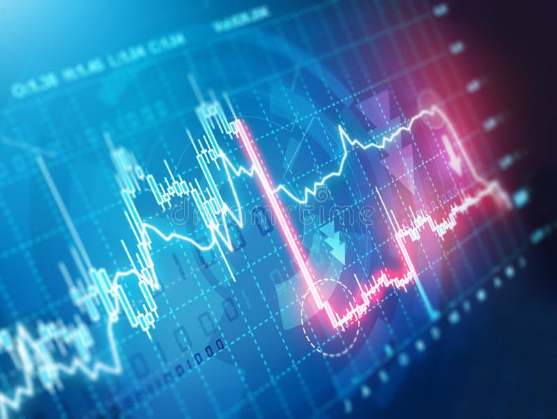 Stock market crash. Sudden stock market crash chart royalty free illustration