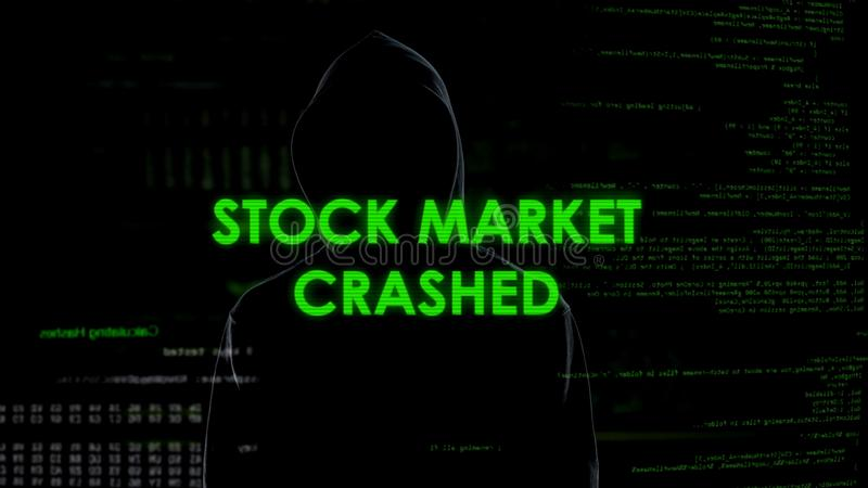 Stock market crashed, anonymous man involved in financial fraud stealing money. Stock photo stock image