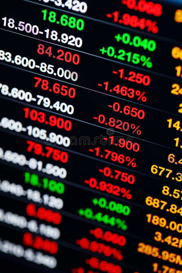 Stock Market Data On Display Stock Images