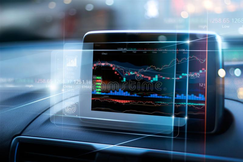 Stock market data display on virtual screen in the car stock image