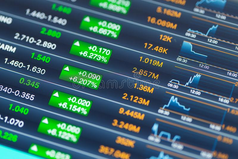 Stock market display on tablet computer royalty free stock photography