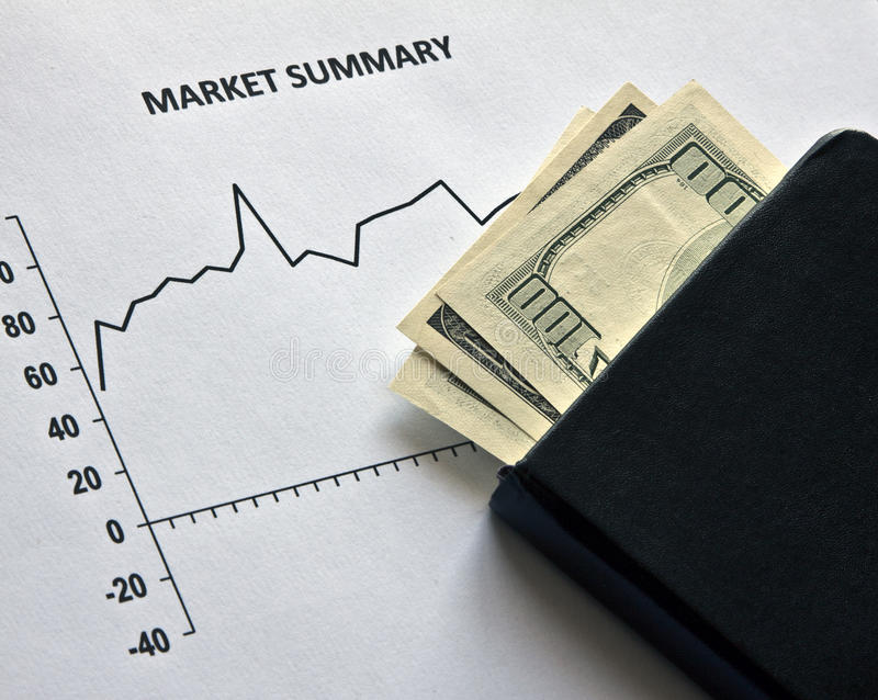 Stock Market and dollars stock photography